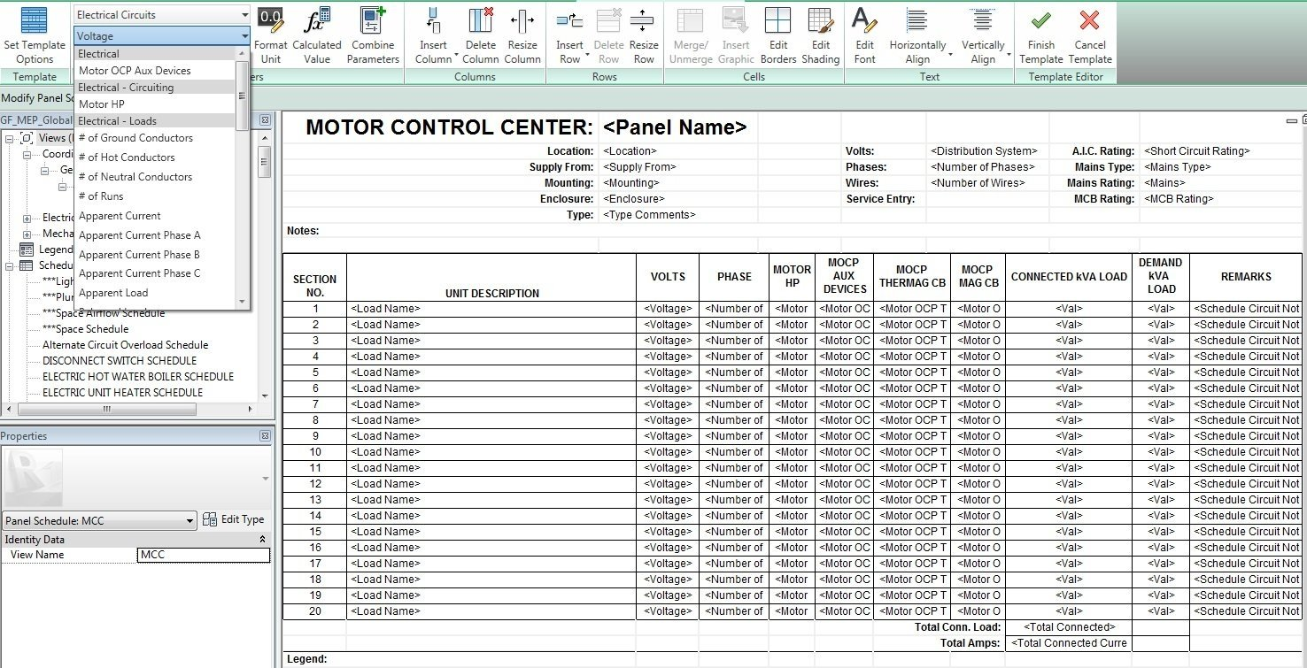 The MEP BIM/CAD Engineer: Tips on Creating Panel Schedule Templates