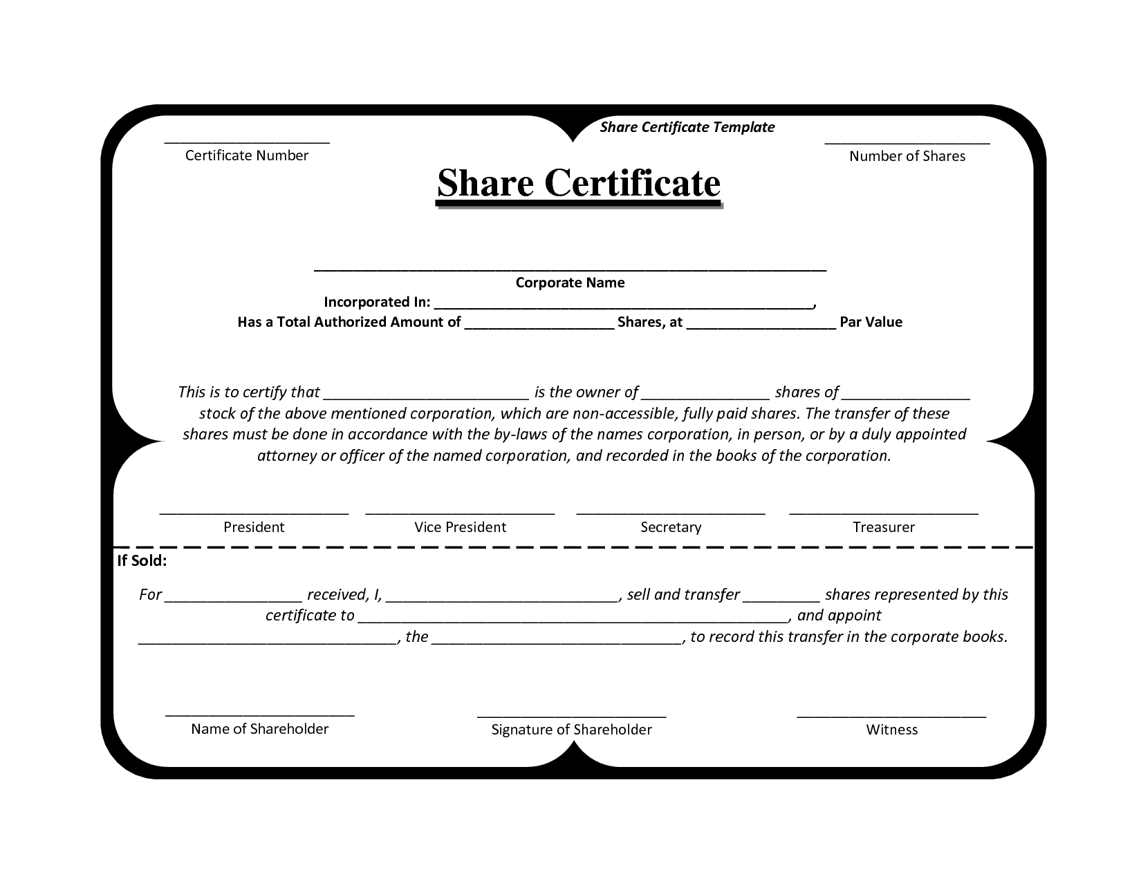Shareholding Certificate Template | Best and Various Templates Ideas