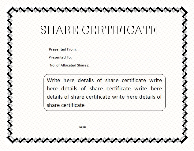 13 Share/Stock Certificate Templates Excel PDF Formats