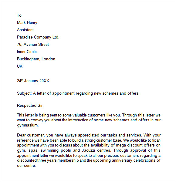 Appointment Letter 7+ Free Samples , Examples , Format