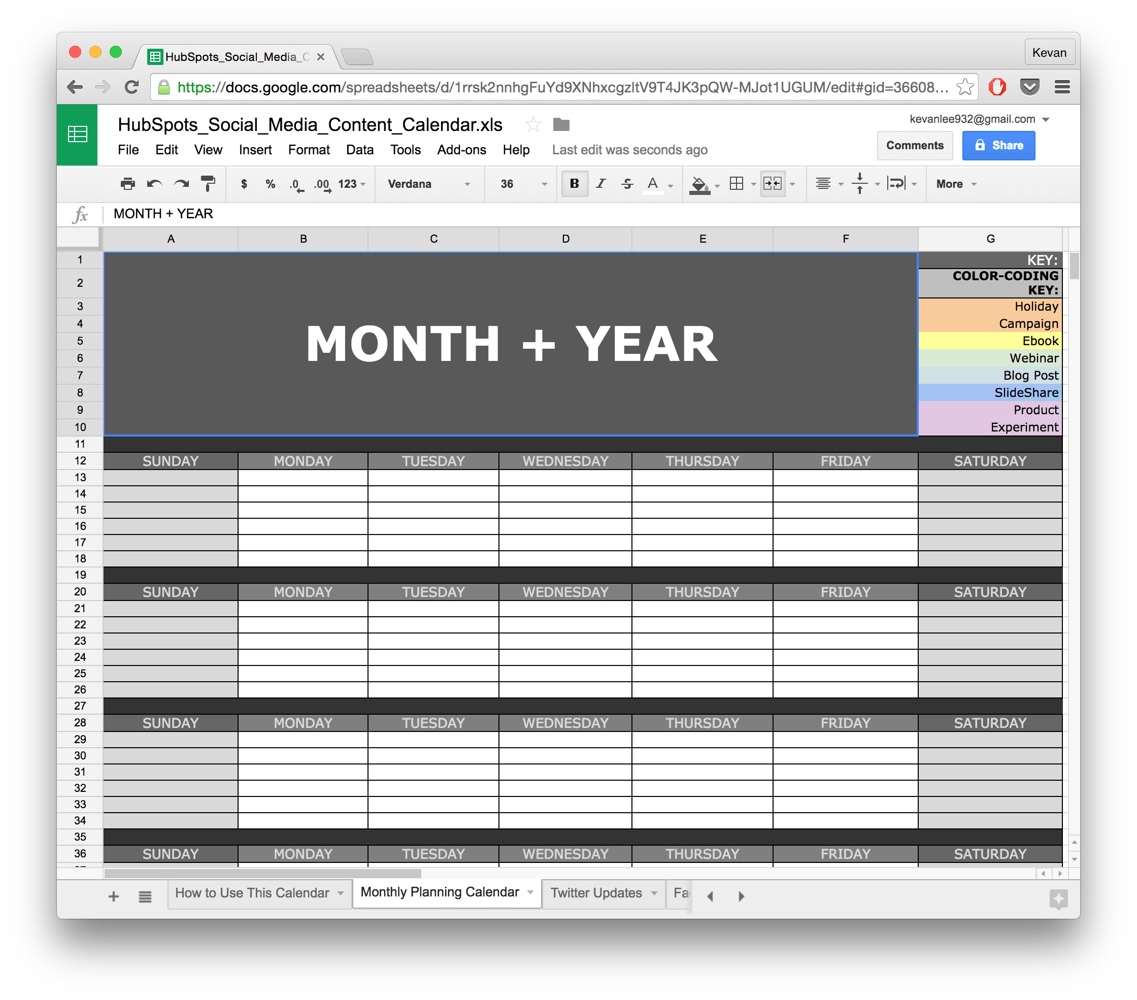 social media calendar template google docs