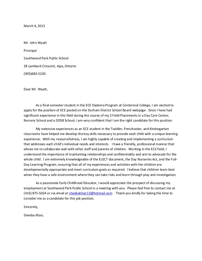 student placement letter sample
