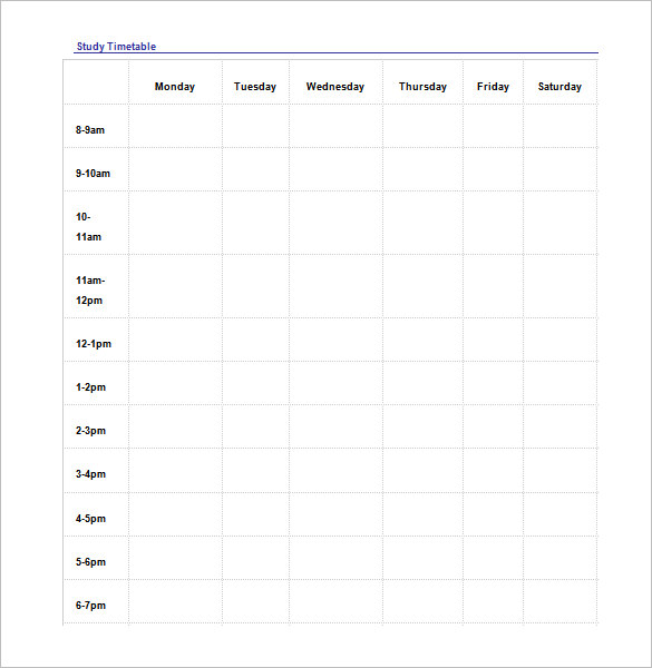 Study Schedule Template – 7+ Free Word, Excel, PDF Format Download