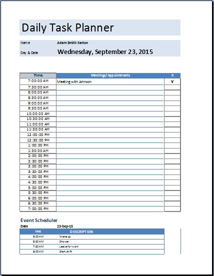 MS Excel Daily Task Planner Template | Word & Excel Templates