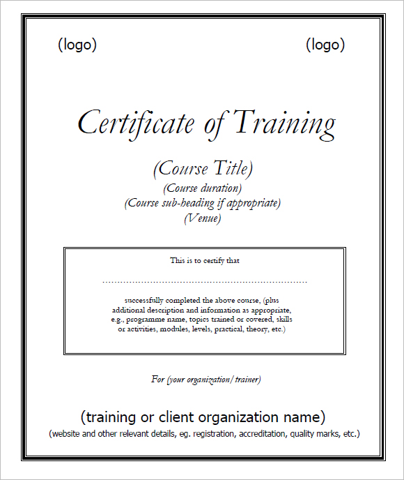 6 Free Training Certificate Templates Excel PDF Formats