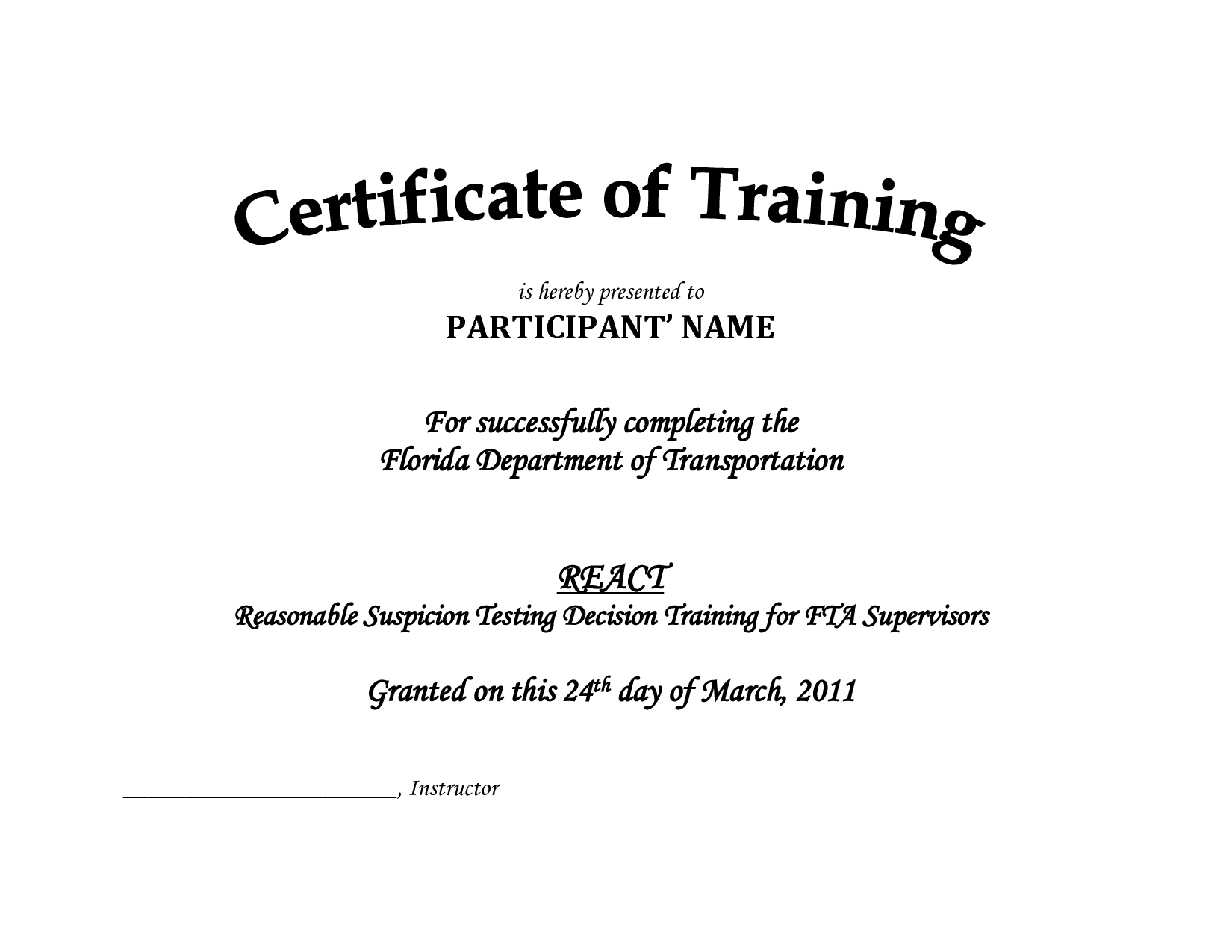 Training Certificate Template PDF | Blank Certificates