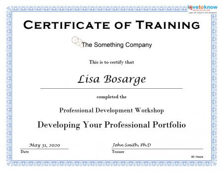 training certificate template doc