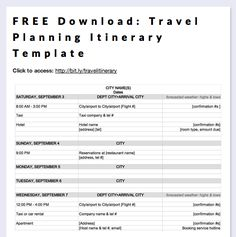 Trip Itinerary Template. Effective Travel Itinerary Template