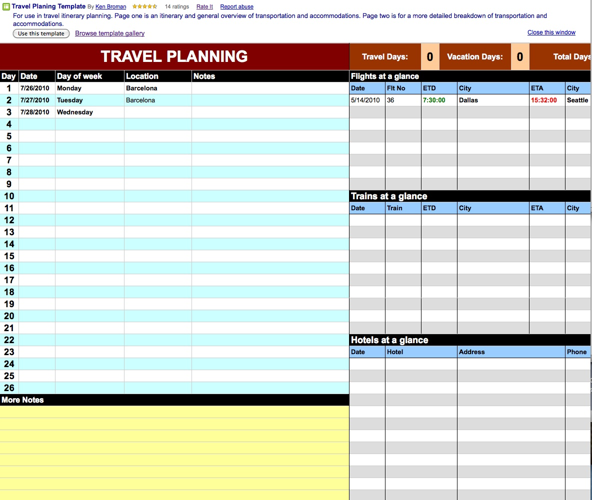 Travel itinerary template google docs planner template free for Trip calendar planner template