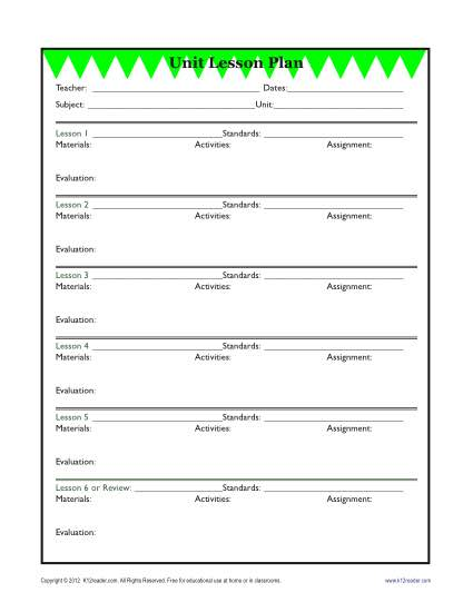 Detailed Unit Lesson Plan Template Elementary Reading