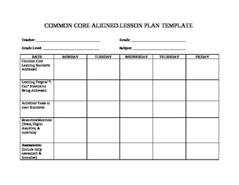 Unit planner template for teachers planner template free for Lesson plan template using common core standards