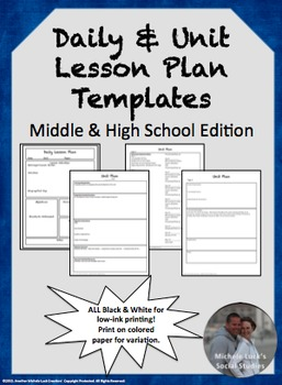 Lesson & Unit Plan Templates for Middle or High School | TpT