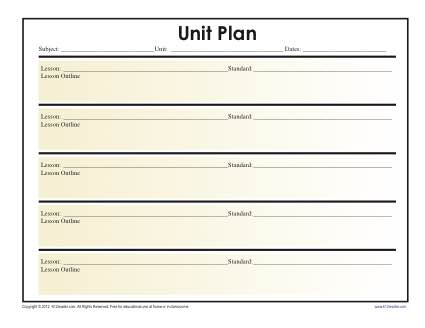 Simple Unit Lesson Plan Template Reading Worksheets, Spelling