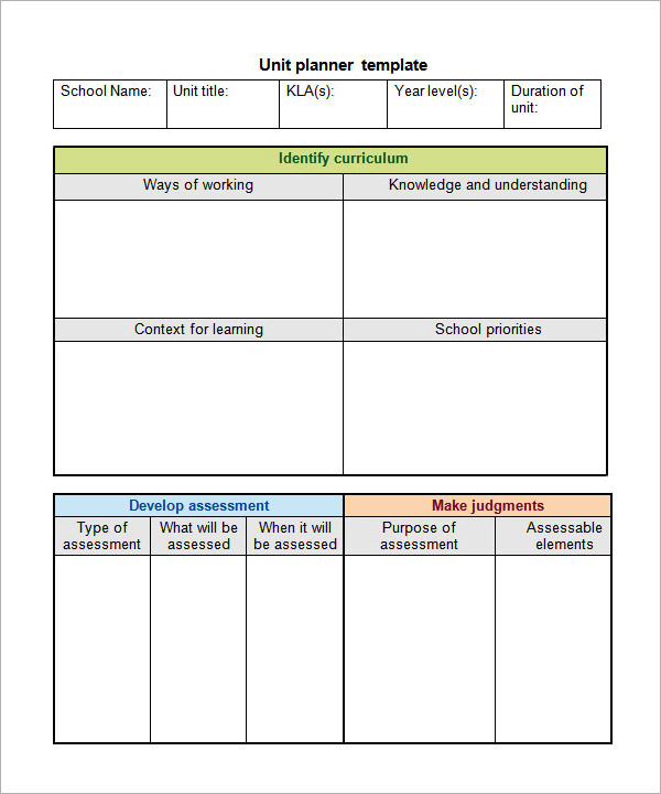 Unit Plan Template 11+ Download Documents in PDF , Word