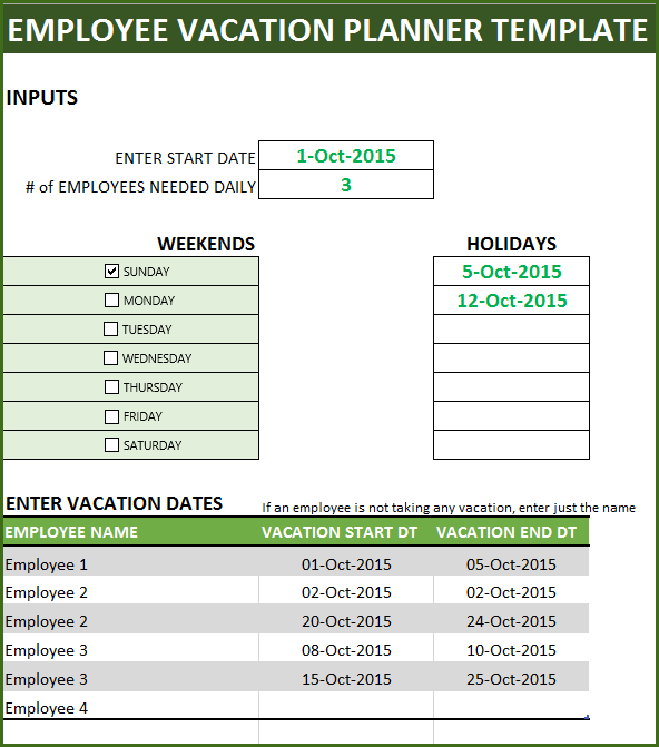 Vacation Itinerary & Packing List Template in Excel