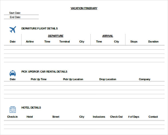 Trip Itinerary Template 20+ Free Word, Excel Documents Download