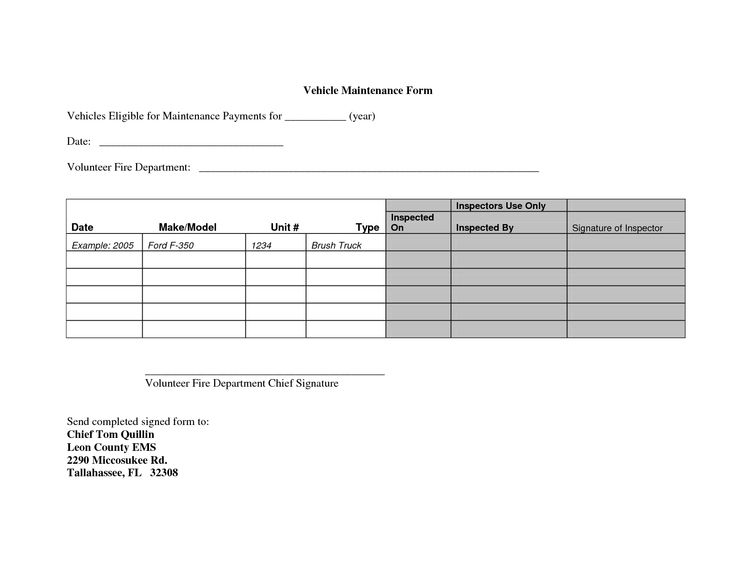 vehicle maintenance forms  u2013 planner template free
