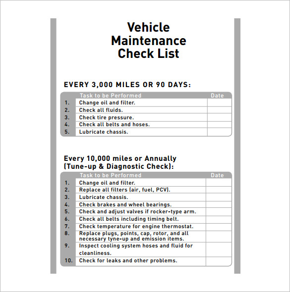 Vehicle maintenance schedule template excel planner for Van checklist template