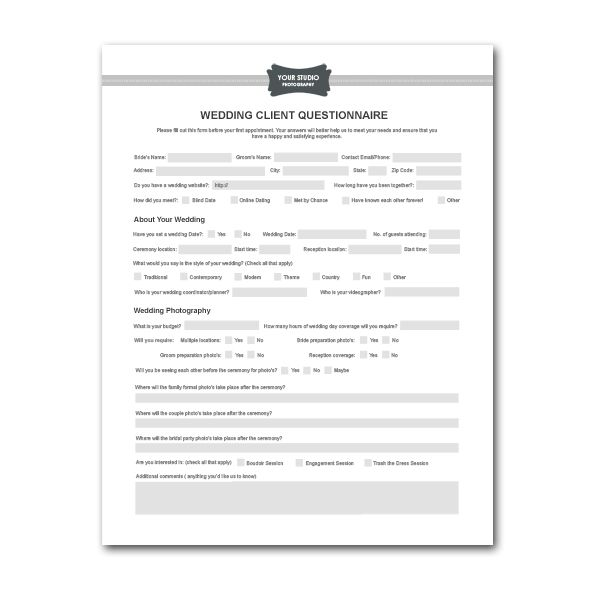 Event Planner Questionnaire For Clients Invitation Templates
