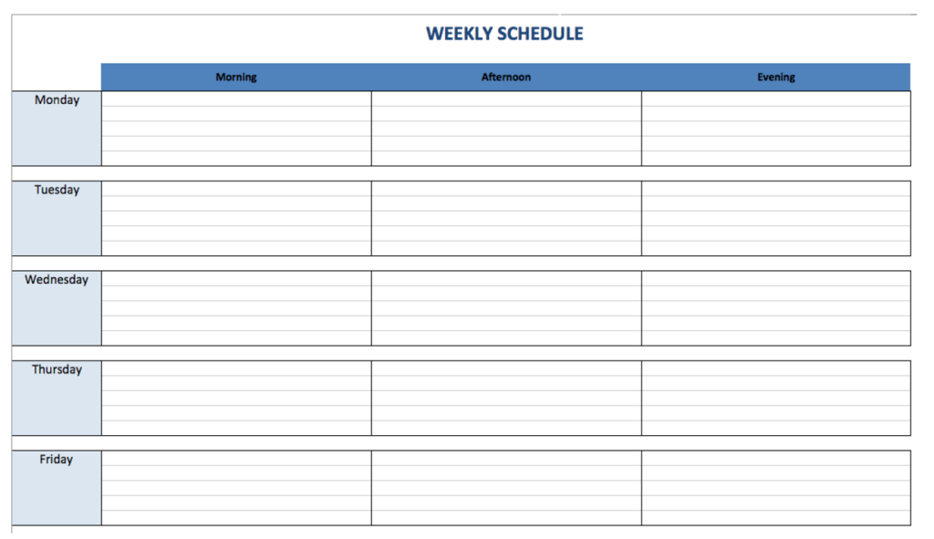 Weekly Schedule Planner | Marywood University