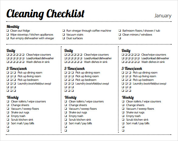 Weekly Cleaning Schedule Pdf