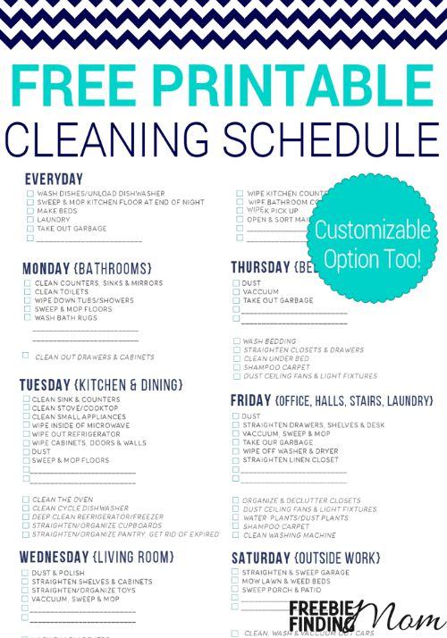 Weekly Cleaning Schedule Blooming Homestead