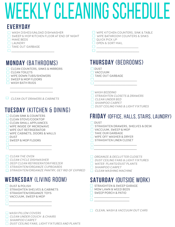 List Junkie: Weekly Cleaning Schedule (Free Printable) | Dandelion