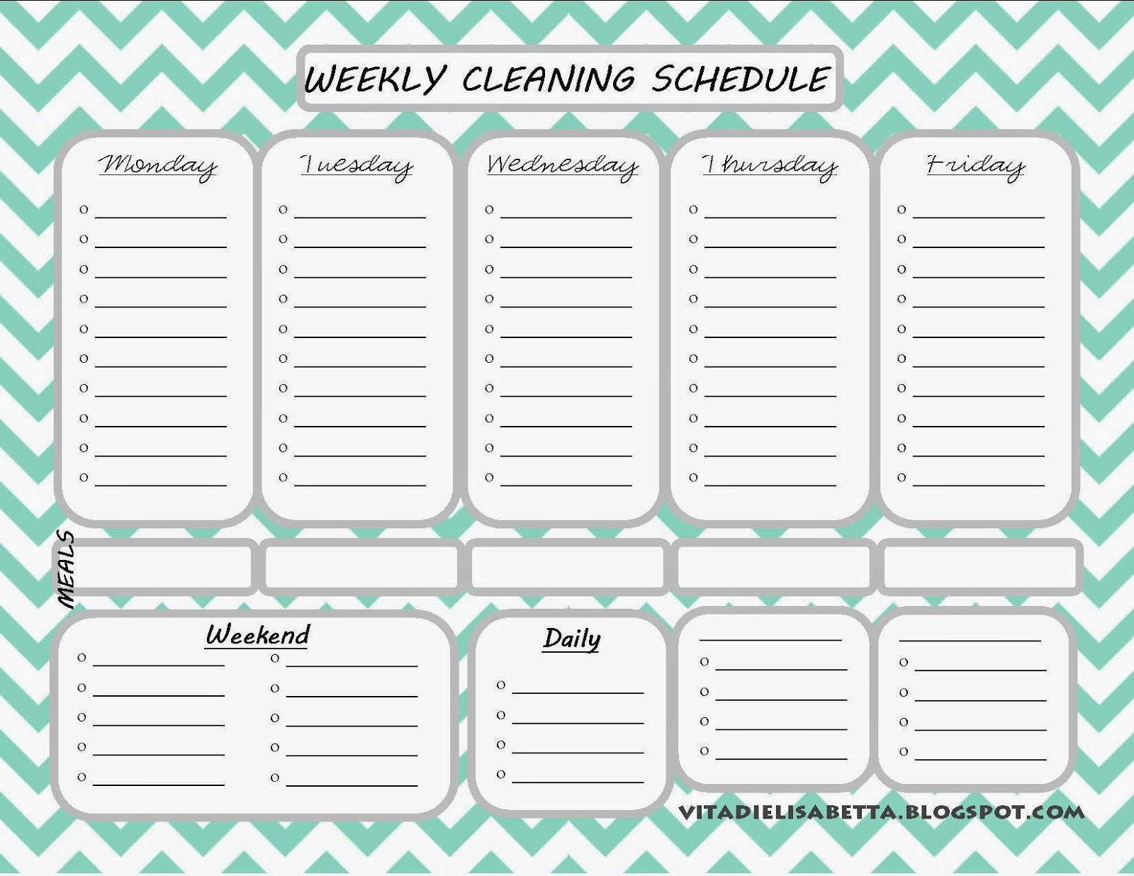 weekly cleaning schedule pdf  u2013 planner template free