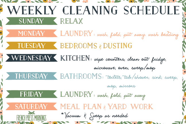 Weekly Cleaning Schedule Pdf | planner template free