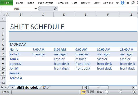 Work Schedule Template Weekly Employee Shift Schedule Templatelate