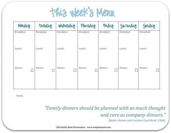 30 Family Meal Planning Templates weekly, monthly, budget | Tip