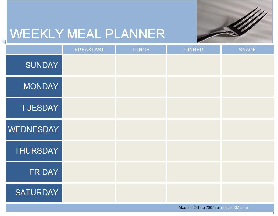 Meal Planner Template Weekly Menu Planner