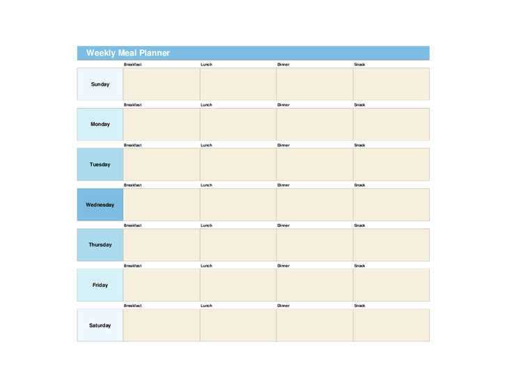 Product review: Weekly meal planner template with snacks