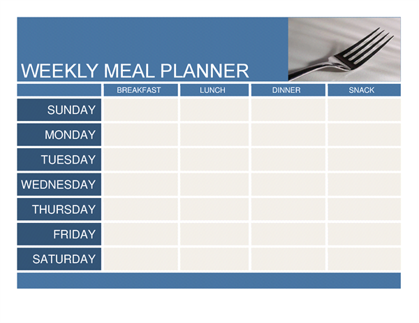 Weekly meal planner template word planner template free for Office planner online