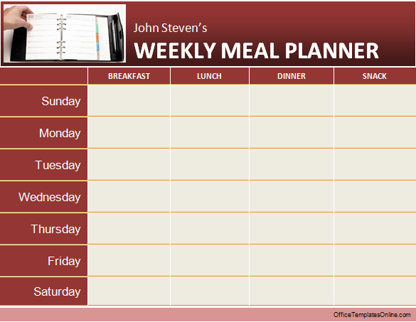 MS Word Weekly Meal/Diet Planner