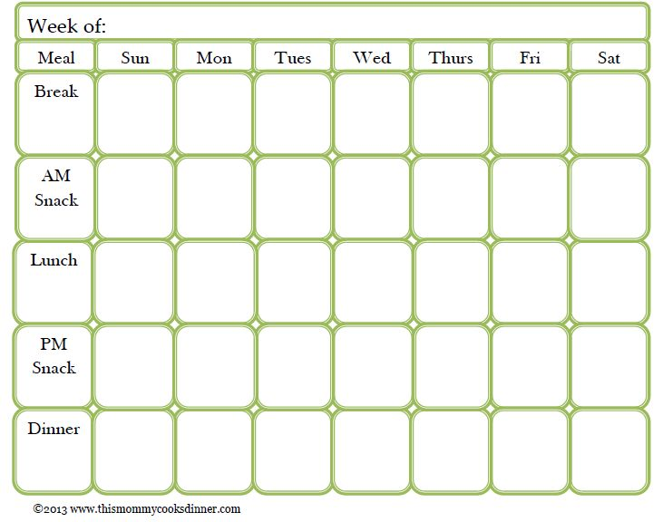 Weekly Meal Plan for the family – Printable! | myhappylittlelife