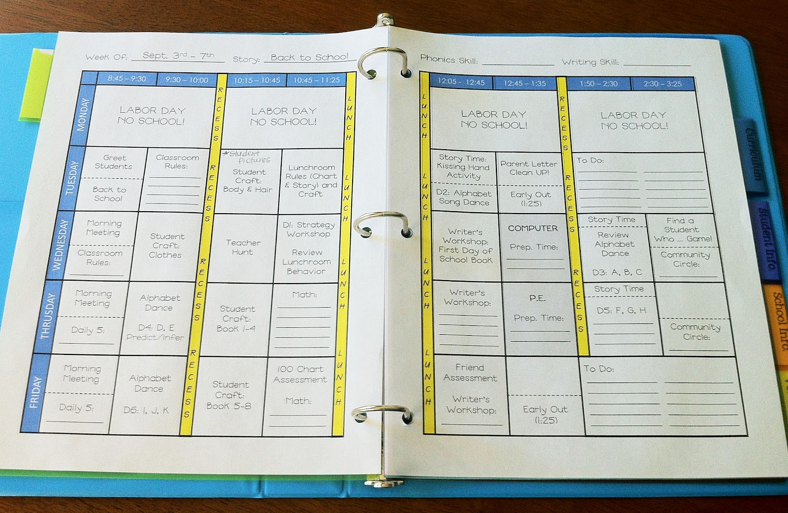 Weekly Planner Template For Teachers | planner template free