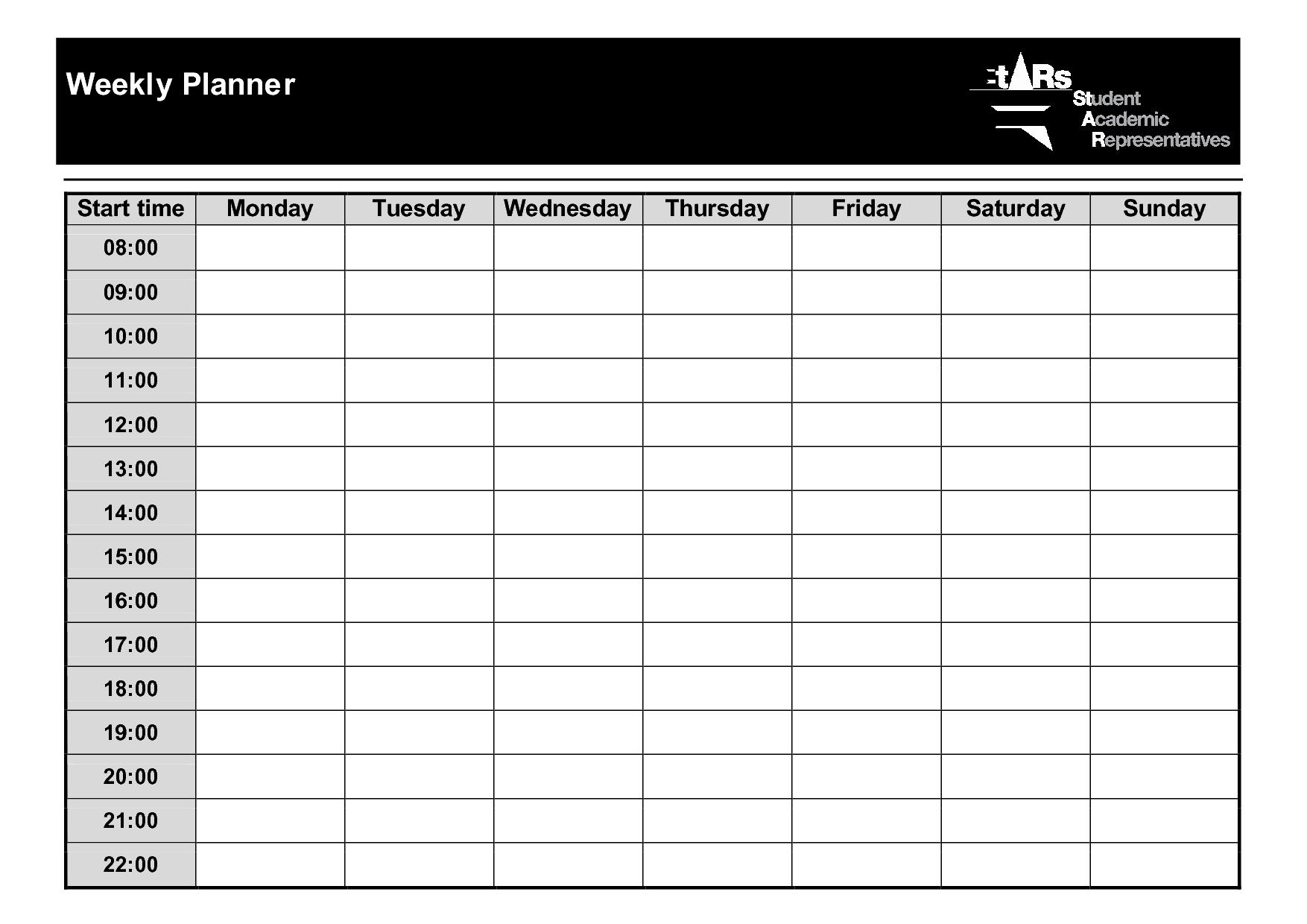 weekly planner template pdf  u2013 planner template free