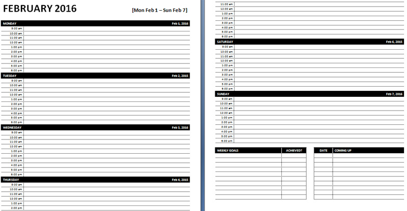 7 Free Weekly Planner Templates Excel PDF Formats
