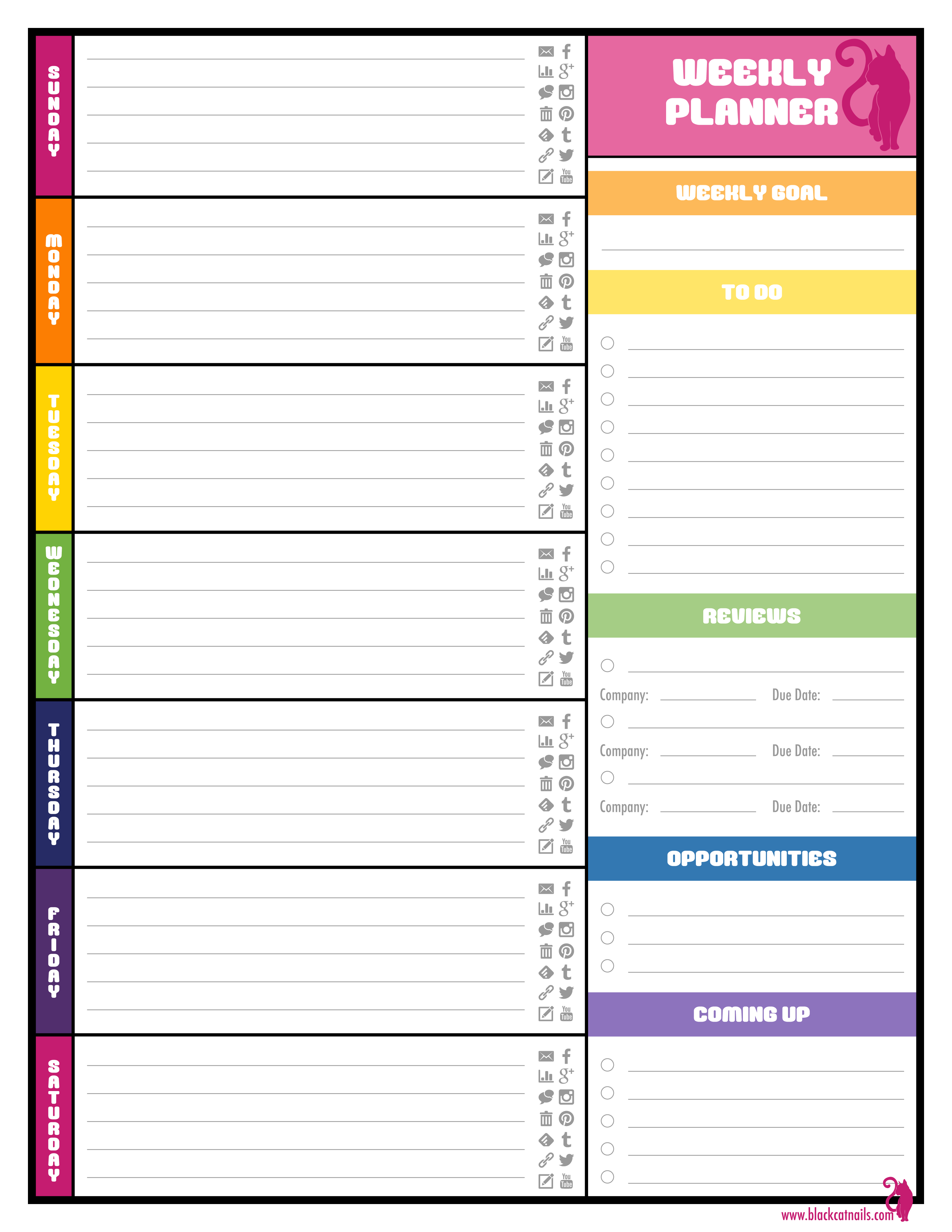 Weekly Planner Template Free Printable Weekly Planner for Excel