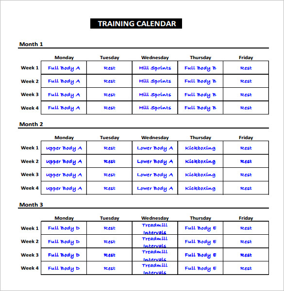 Exercise Schedule Template – 7+ Free Word, Excel, PDF Format
