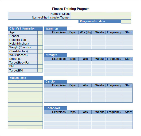 Workout Plan Template Word – planner template free