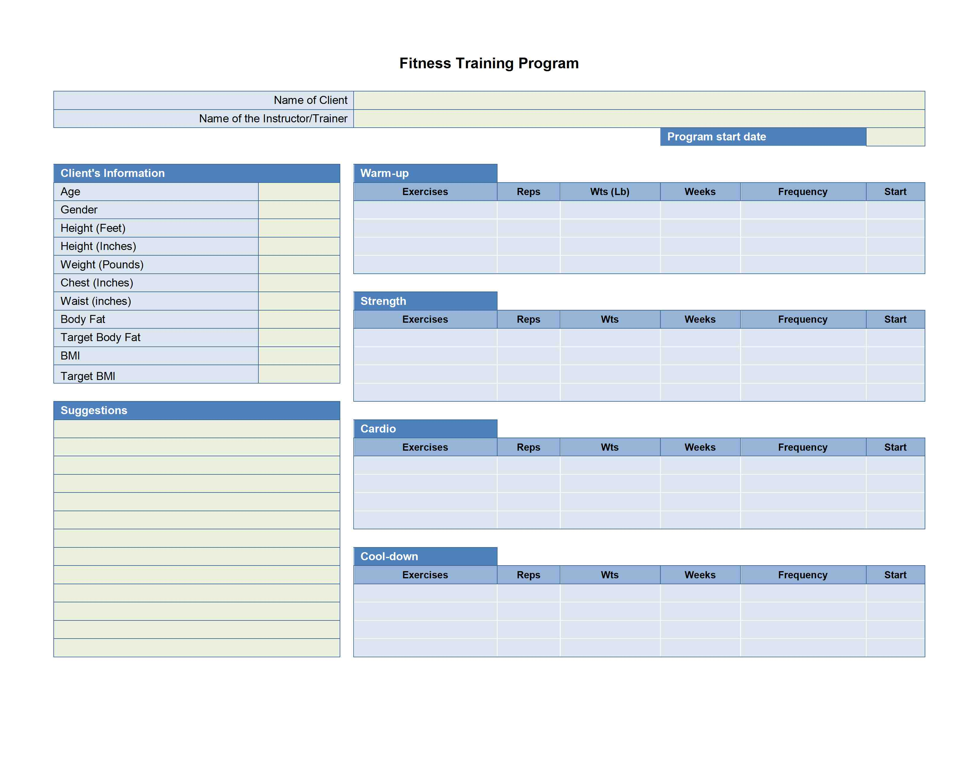 Training Plan Template vnzgames