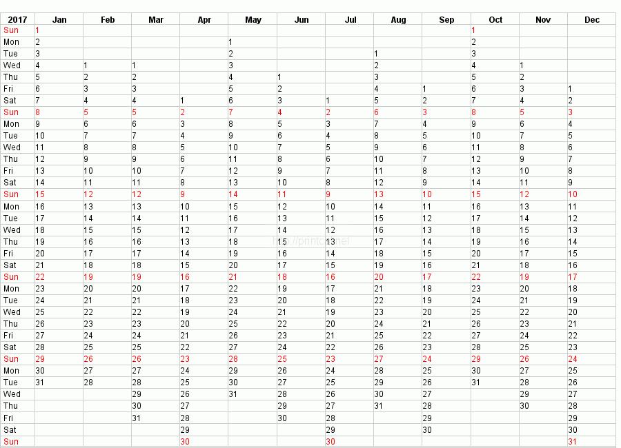 Printable 2017 Calendar Blank Template #2 (compact year planner)