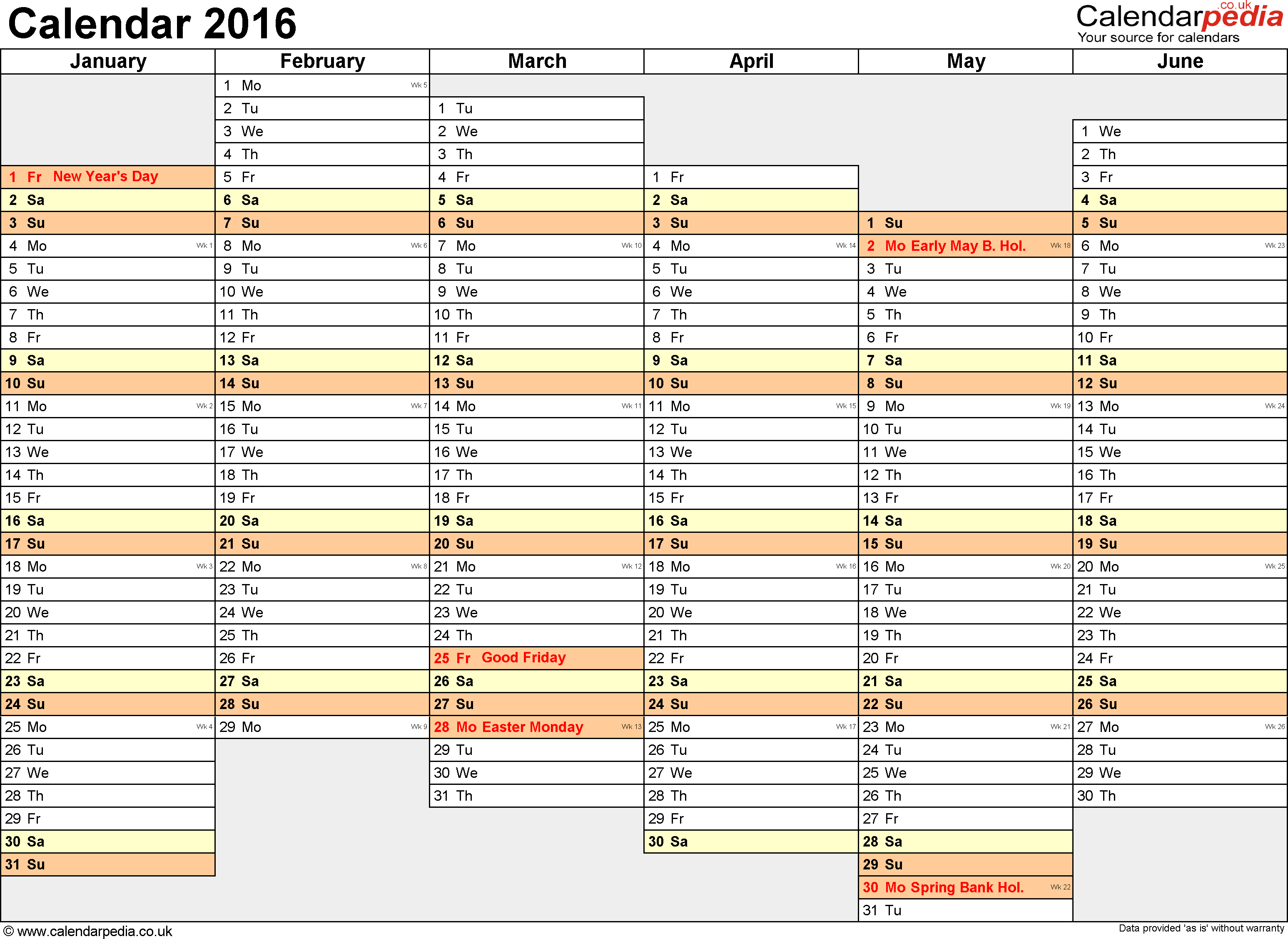 Excel Calendar 2016 (UK): 16 printable templates (xls/xlsx, free)