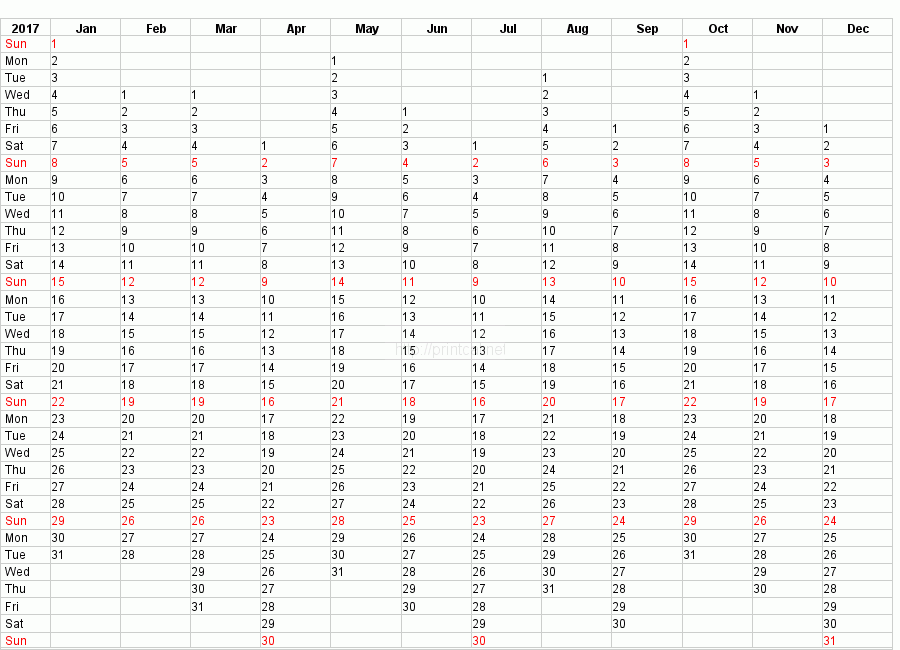 Printable 2017 Calendar Blank Template #2 (compact year planner)