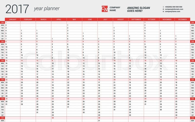 Yearly Wall Calendar Planner Template for 2017 Year. Vector Design