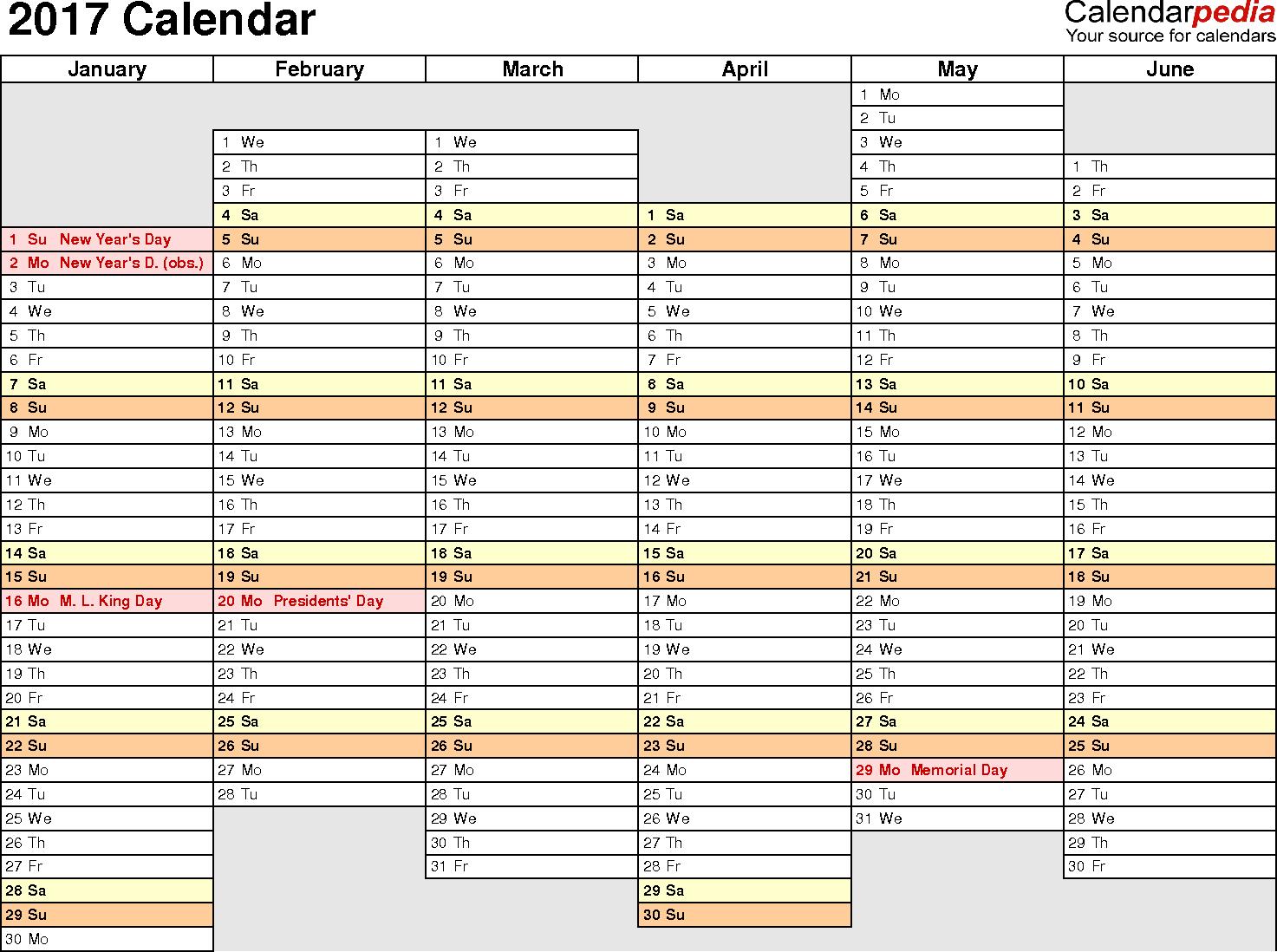 2017 Calendar Download 17 free printable Excel templates (.xls)