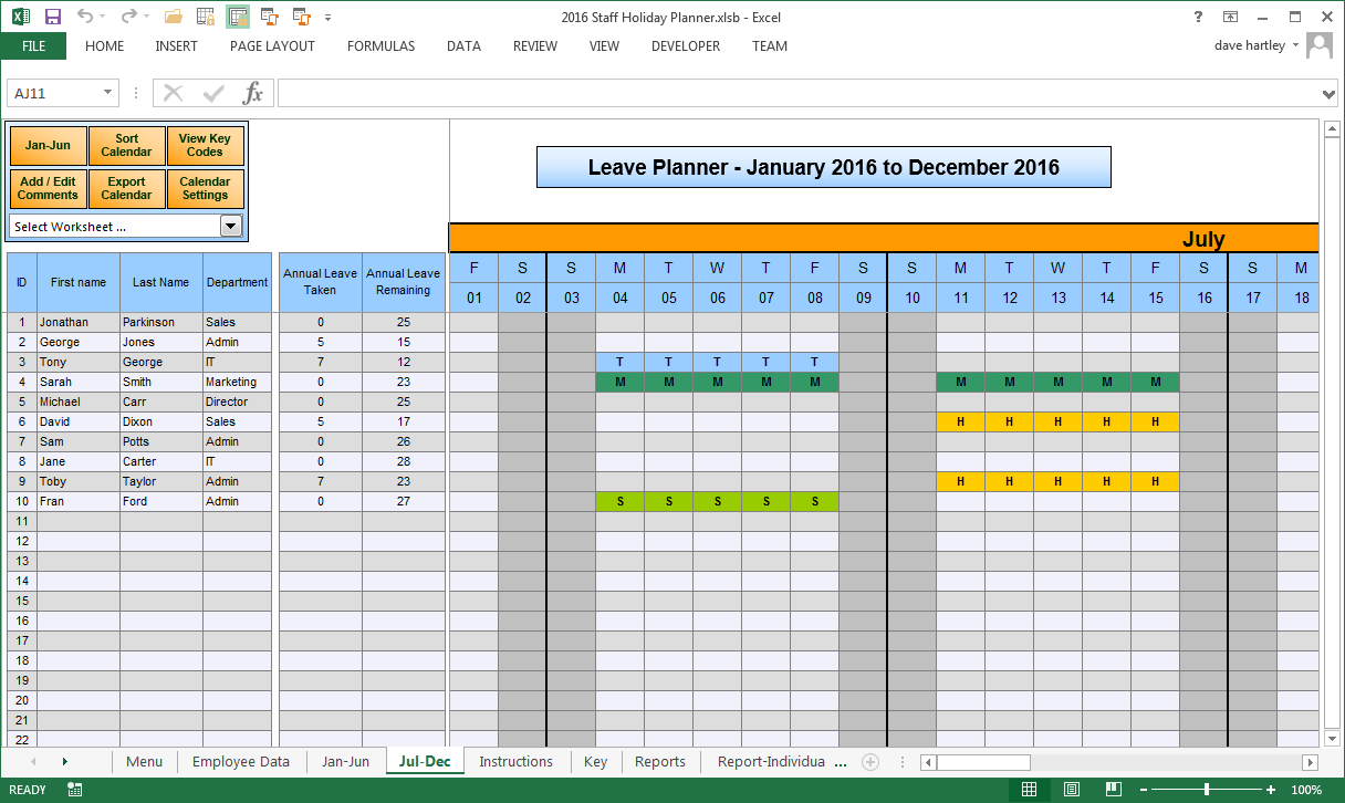 annual leave planner template