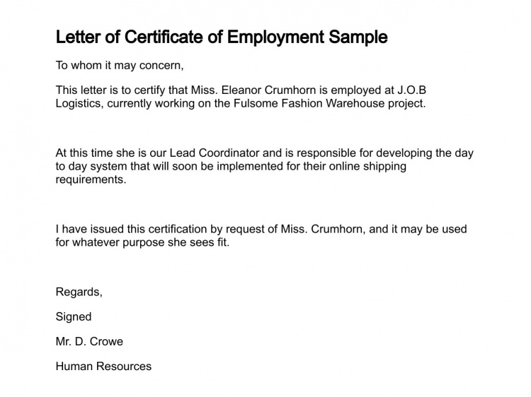 letter of request for certification certificate of employment currently employed planner 11973